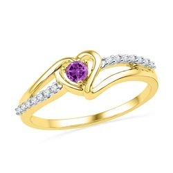 10kt Yellow Gold Lab-Created Amethyst Heart Ring 1/5 Cttw