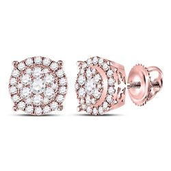 14kt Rose Gold Round Diamond Halo Cluster Earrings 3/8 Cttw