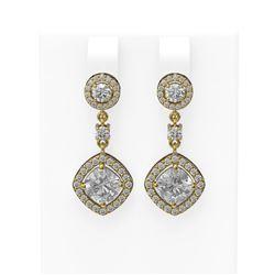 4.36 ctw Cushion Diamond Earrings 18K Yellow Gold