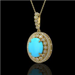 8.97 ctw Turquoise & Diamond Victorian Necklace 14K Yellow Gold