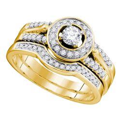 14kt Yellow Gold Diamond Round Bridal Wedding Engagement Ring Band Set 1/2 Cttw