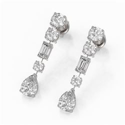 3.5 ctw Mixed Cut Diamond Designer Earrings 18K White Gold