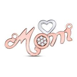 10kt Rose Gold Round Diamond Mom Mother Heart Pendant 1/20 Cttw