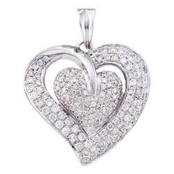 14kt White Gold Round Diamond Heart Pendant 1.00 Cttw