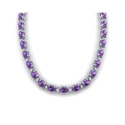 46.5 ctw Amethyst & VS/SI Diamond Eternity Necklace 10K White Gold