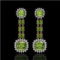 19.88 ctw Peridot & Diamond Earrings 14K Yellow Gold