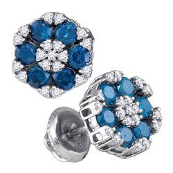10kt White Gold Round Blue Color Enhanced Diamond Cluster Screwback Earrings 1.00 Cttw
