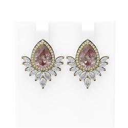 6.43 ctw Morganite & Diamond Earrings 18K Yellow Gold