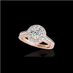 1.7 ctw Certified Diamond Solitaire Halo Ring 10K Rose Gold