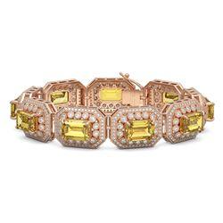 49.68 ctw Canary Citrine & Diamond Victorian Bracelet 14K Rose Gold