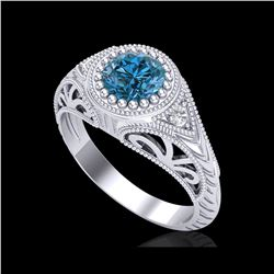1.07 ctw Fancy Intense Blue Diamond Art Deco Ring 18K White Gold