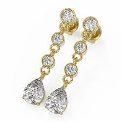 3 ctw Pear Cut Diamond Designer Earrings 18K Yellow Gold