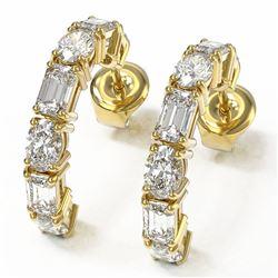 4.86 ctw Emerald and Oval Cut Diamond Earrings 18K Yellow Gold