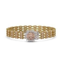 27.48 ctw Morganite & Diamond Bracelet 14K Yellow Gold