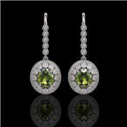 8.45 ctw Tourmaline & Diamond Victorian Earrings 14K White Gold