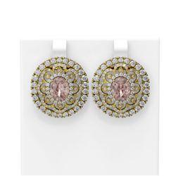 11.6 ctw Morganite & Diamond Earrings 18K Yellow Gold