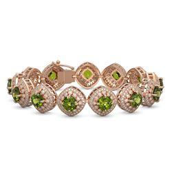 33.05 ctw Tourmaline & Diamond Victorian Bracelet 14K Rose Gold