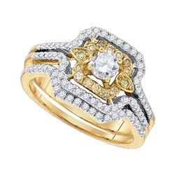 14kt Yellow Gold Yellow Diamond Round Bridal Wedding Engagement Ring Band Set 3/4 Cttw