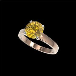 2.50 ctw Certified Intense Yellow Diamond Solitaire Ring 10K Rose Gold