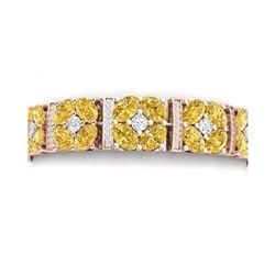 28.95 ctw Canary Citrine & VS Diamond Bracelet 18K Rose Gold