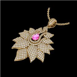 3 ctw Pink Sapphire & Micro Pave VS/SI Diamond Necklace 18K Yellow Gold