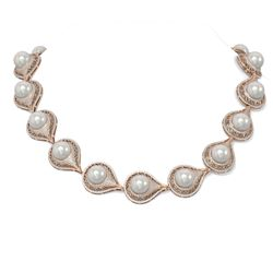 20 ctw Diamond and Pearl Necklace 18K Rose Gold
