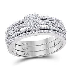 10kt White Gold Round Diamond Cluster Bridal Wedding Engagement Ring Band 3-Piece Set 3/8 Cttw