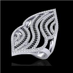 2 ctw Micro Pave Black & White VS/SI Diamond Ring 14K White Gold