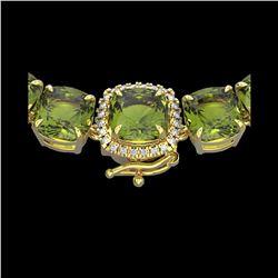 100 ctw Green Tourmaline & Diamond Micro Necklace 14K Yellow Gold