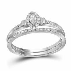 10k White Gold Marquise Diamond Bridal Wedding Engagement Ring Band Set 1/5 Cttw