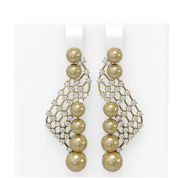 1.55 ctw Diamond and Pearl Earrings 18K Yellow Gold