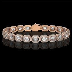 14.57 ctw Emerald Cut Diamond Micro Pave Bracelet 18K Rose Gold