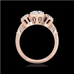 1.66 ctw VS/SI Diamond Solitaire Art Deco 3 Stone Ring 18K Rose Gold
