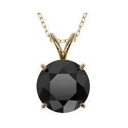 2.58 ctw Fancy Black Diamond Solitaire Necklace 10K Yellow Gold