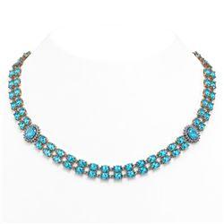 64.99 ctw Swiss Topaz & Diamond Necklace 14K Rose Gold