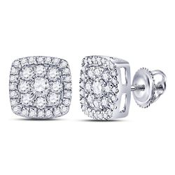 14kt White Gold Round Diamond Square Cluster Earrings 1.00 Cttw