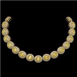 89.35 ctw Canary Citrine & Diamond Victorian Necklace 14K Yellow Gold