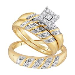 10kt Yellow Gold His & Hers Round Diamond Cluster Matching Bridal Wedding Ring Band Set 1/8 Cttw