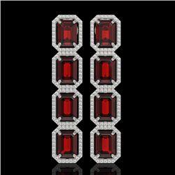 17.8 ctw Garnet & Diamond Micro Pave Halo Earrings 10K White Gold