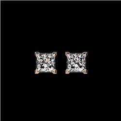 1 ctw Certified VS/SI Quality Princess Diamond Stud Earrings 10K Rose Gold