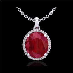 12 ctw Ruby & Micro Pave VS/SI Diamond Necklace 18K White Gold