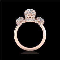 3 ctw VS/SI Diamond Art Deco 3 Stone Ring 18K Rose Gold