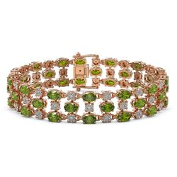 15.64 ctw Tourmaline & Diamond Row Bracelet 10K Rose Gold