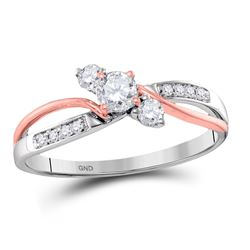 14kt Two-tone Gold Round Diamond 3-stone Bridal Wedding Engagement Ring 3/8 Cttw