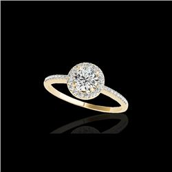 1.2 ctw Certified Diamond Solitaire Halo Ring 10K Yellow Gold