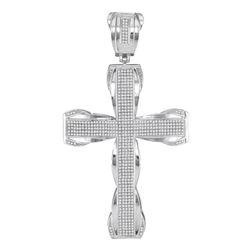 10kt White Gold Mens Round Diamond Flared Roman Cross Charm Pendant 1-1/2 Cttw