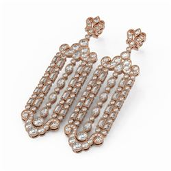 12 ctw Mixed Cut Diamond Designer Earrings 18K Rose Gold