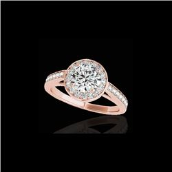 1.45 ctw Certified Diamond Solitaire Halo Ring 10K Rose Gold