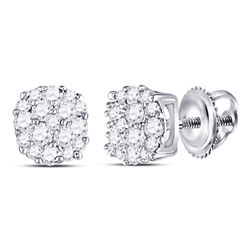 10kt White Gold Round Diamond Fashion Cluster Earrings 1/5 Cttw
