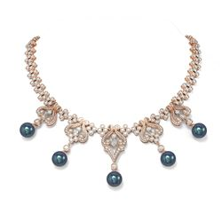24 ctw Diamond and Pearl Necklace 18K Rose Gold